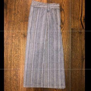 Multicolor striped denim skirt